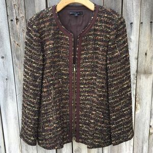 Lafayette 148 New York Tweed Jacket Brown 16
